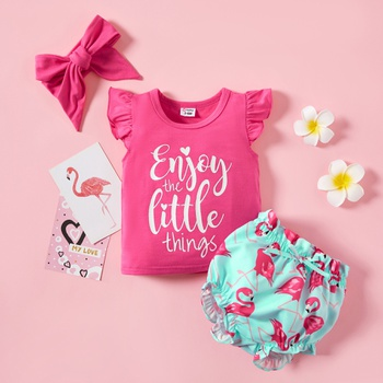 3pcs Baby Girl Sweet Letter Top and Flamingo Shorts Set with Headband