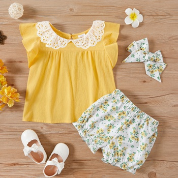 2pcs Toddler Girl  Short-sleeve Cotton Flower Set