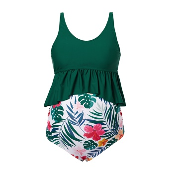Maternity 2pcs Floral full print Green two piece swimsuits