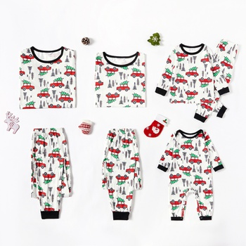 Family Matching Red Car Driving Christmas Tree Pajamas Sets (Flame Resistant)