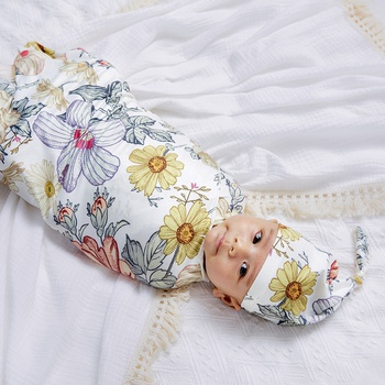3-pcs Floral Daisy Baby Swaddle Blankets Hat Headband Soft Sleeping Blanket Wrap Newborn Baby Bedding Blanket