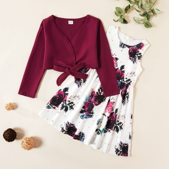 Kids Girl Solid Bowknot Top and Floral Allover Dress Set