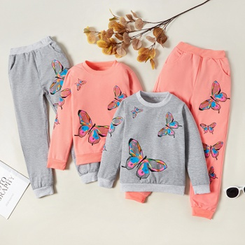 Stylish Butterfly Print Sweatshirt and Pants