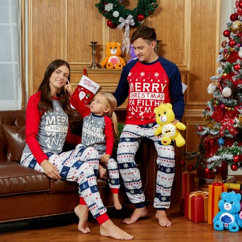 Mosaic Family Matching Snowflake and Letter Print Merry Christmas Pajamas Sets (Flame Resistant)
