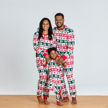 Christmas Tree and Reindeer Patterned Family Matching Pajamas Sets (Flame Resistant)