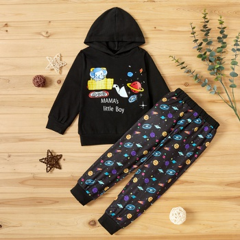 2-piece Baby / Toddler Space Letter Print Hooded Pullover and Pants Set