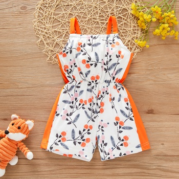 1pc Baby Girl Sling Floral straight Jumpsuits