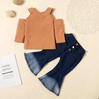 2-piece Baby / Toddler Girl Knitted Off Shoulder Top and Denim Flares Set