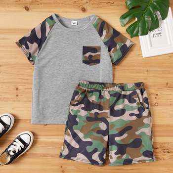 Kid Boy Camouflage Top & Shorts Set