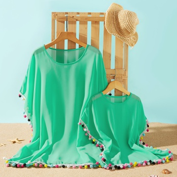 Solid Green Tassel Beach Cover Up for Mommy and Me
