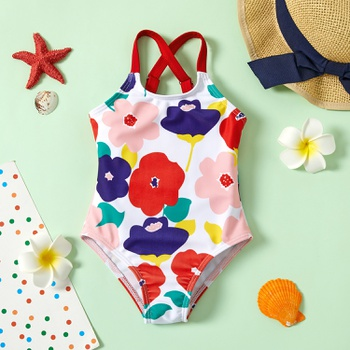 1pc baby girl  Geometric Print Polyester&Nylon Summer More Festivals Swimwear Swimsuit