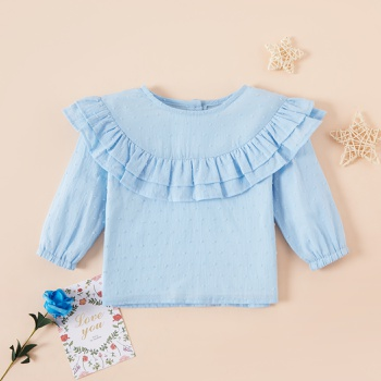 Baby Girl Sweet Floral Shirt Solid Smock Long-sleeve Baby Clothes