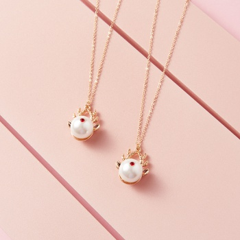 Deer Pattern Pearl Pendant Necklaces for Mommy and Me