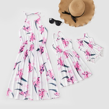 Floral Print Backless Matching White Midi Dresses