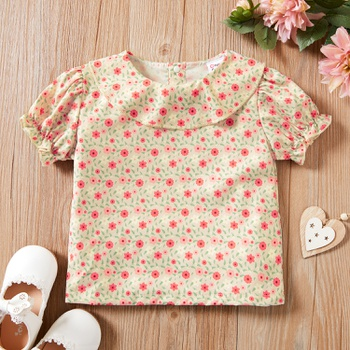 1pc Baby Girl Short-sleeve Cotton  Sweet Floral Shirt & Smock