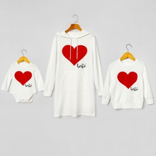 Mosaic Bestie Heart Pattern Matching Sweatshirts Mini Dresses
