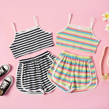 Pretty Kid Girl Sleeveless Stripes Print Shorts Suits