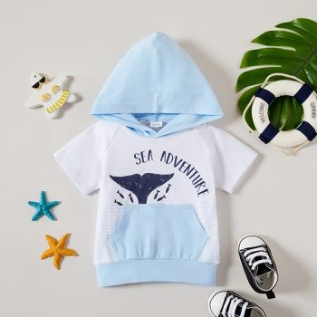 1pcs Baby Boy Short-sleeve Animal Letter Print Cotton Tops