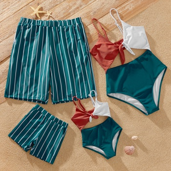 Color Block Splice Print Family Matching Swimsuits(Front Tie One-piece Swimsuits for Mom and Girl ; Stripe Swim Trunks for Dad and Boy)