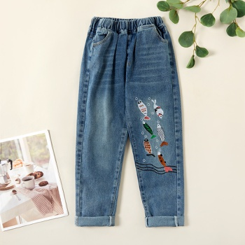 Stylish Fish Embroidered Denim Elasticized Jeans