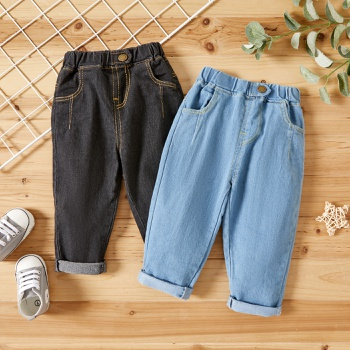 1pcs Baby Boy Solid Denim Cotton Pants Jeans