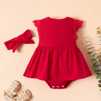 Baby Lace Dress Bodysuit and Bow Headband