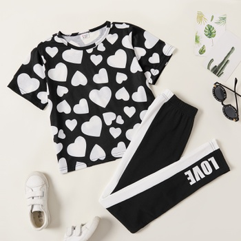 Pretty Kid Girl Heart Print Set