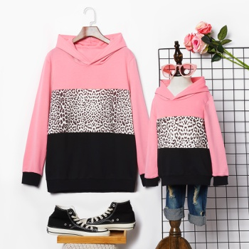 Leopard Splice Print Hoodies Sweatshirts for Mom and Me