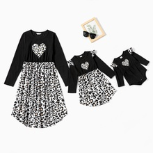 Mommy and Me Leopard Print Heart Pattern Stitching Dresses
