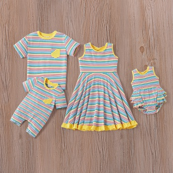 Mosaic Pinstriped Family Matching Cotton Sibling Sets( Tee - Rompers - Twirl Dresses)