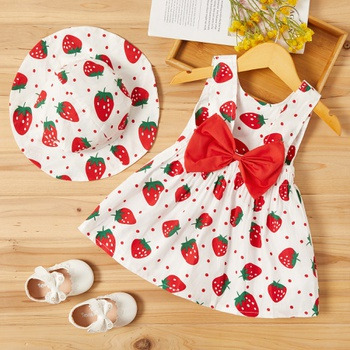 Baby Strawberry Print Dresses with Hat Set