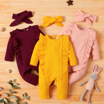 Baby Girl Sweet Solid Jumpsuits
