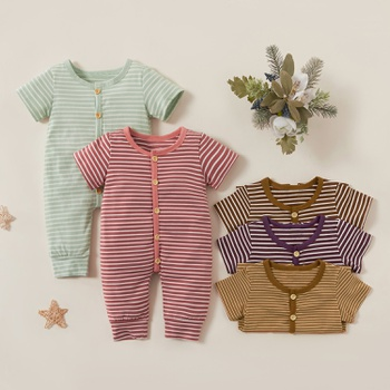 Baby Stripe Short-sleeve Jumpsuit