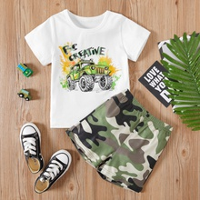 2-piece Baby / Toddler Boy Cool Car Tee and Camouflage Shorts Set