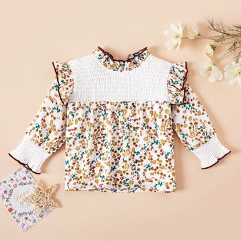 1pc Baby Girl Short-sleeve Cotton elegant Shirt & Floral