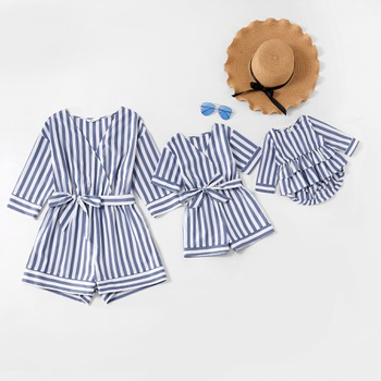 Blue and White Midi-sleeve Matching Shorts Rompers