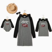 Letter Print Colorblock Hoodie Sweater Dresses for Mommy and Me