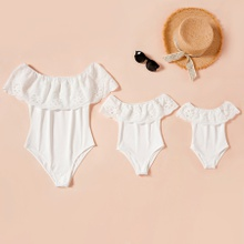 Mommy-girl-baby Solid Lace Ruffle Off-shoulder Rompers