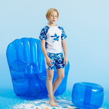 Kids Boy Star Camouflage Print Tee and Shorts Swimsuit Set