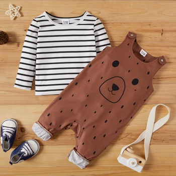 Baby Boy Striped Top & Animal Overalls Sets