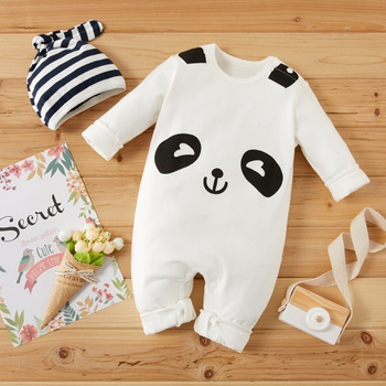 Baby Cartoon Panda 3D Ear Jumpsuit and Striped Hat