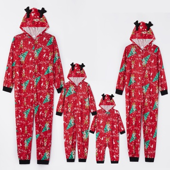 Family Matching Cute Deer and Christmas Tree Print Hooded Onesies Pajamas (Flame resistant)
