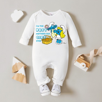 Smurfs Baby Boy Best Gift for Mother's Day 100% Cotton Jumpsuit