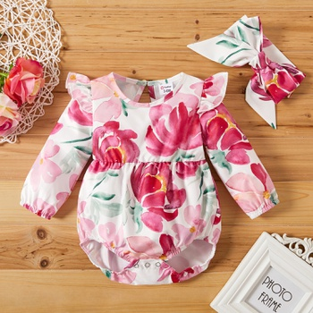 2-Piece Baby Girl Sweet Floral Rompers