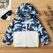 Baby / Toddler Boy Camouflage Colorblock Casual Hooded Jacket