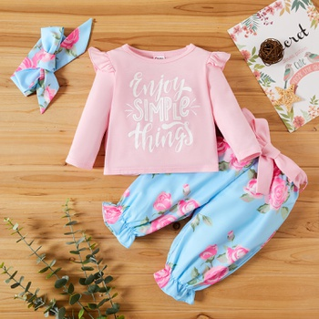 3-piece Letter and Floral Print Set for Baby