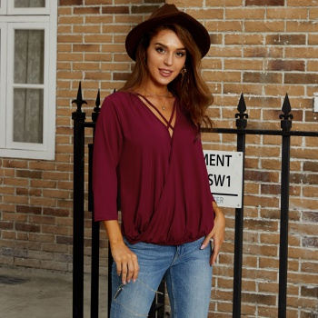 V-neck Plain Three Quarter Length Sleeve Sexy T-shirt