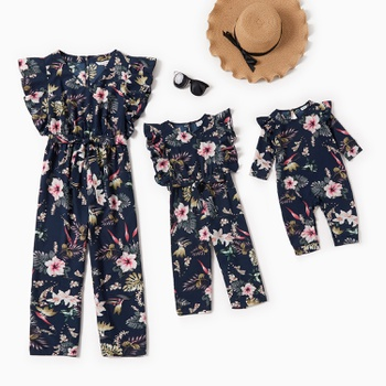 Floral Print V-neck Tank Jumpsuits for Mommy-girl-baby