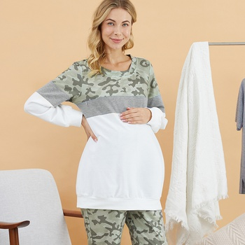Maternity Round collar Camouflage full print Color block Hoodie