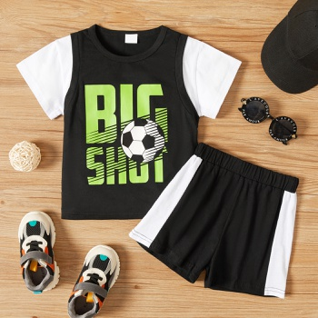 2-piece Toddler Boy Football Letter Print Tee and Printed shorts Set